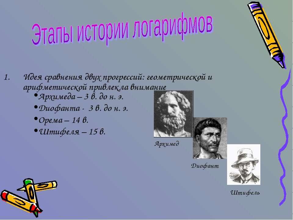 Идея сравнения двух прогрессий: геометрической и арифметической привлекла вни...