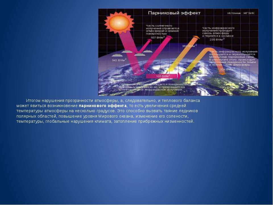 Итогом нарушения прозрачности атмосферы, а, следовательно, и теплового баланс...