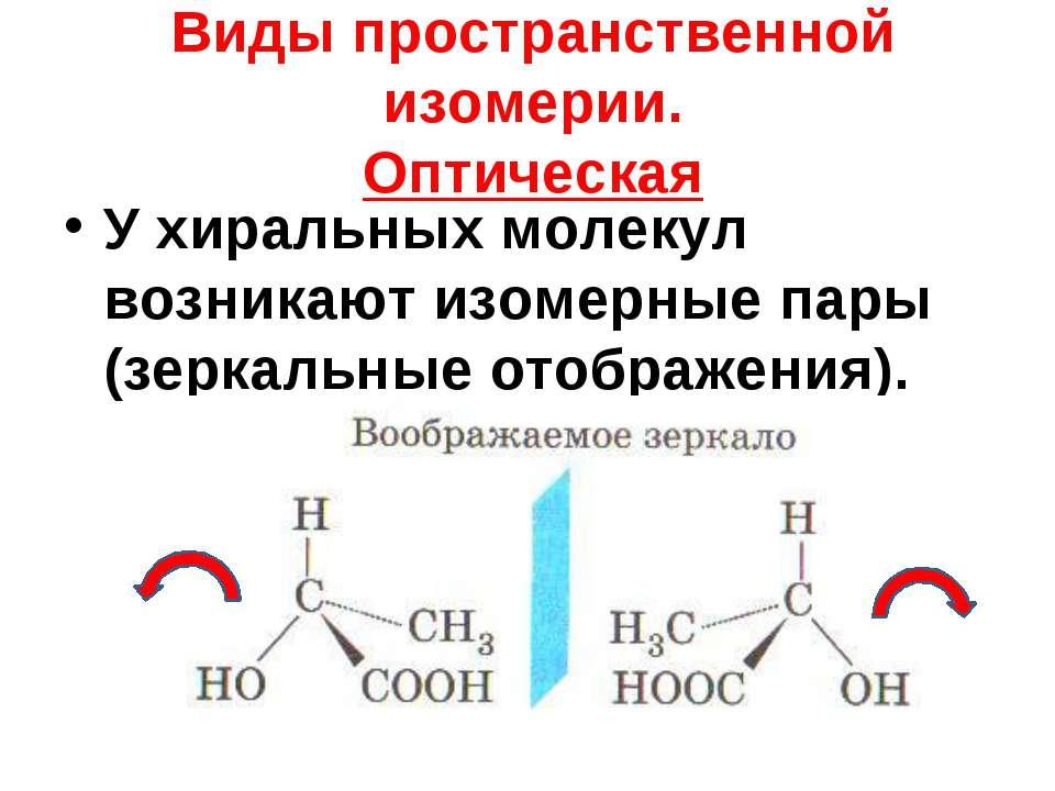 Виды пространственной изомерии. Оптическая У хиральных молекул возникают изом...