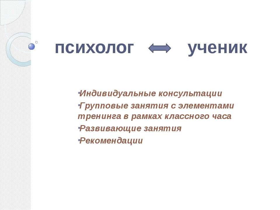 психолог ученик Индивидуальные консультации Групповые занятия с элементами тр...