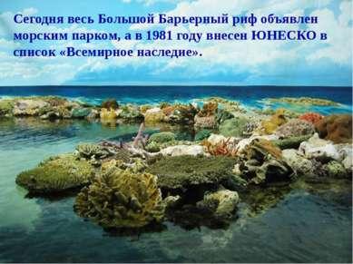 Сегодня весь Большой Барьерный риф объявлен морским парком, а в 1981 году вне...