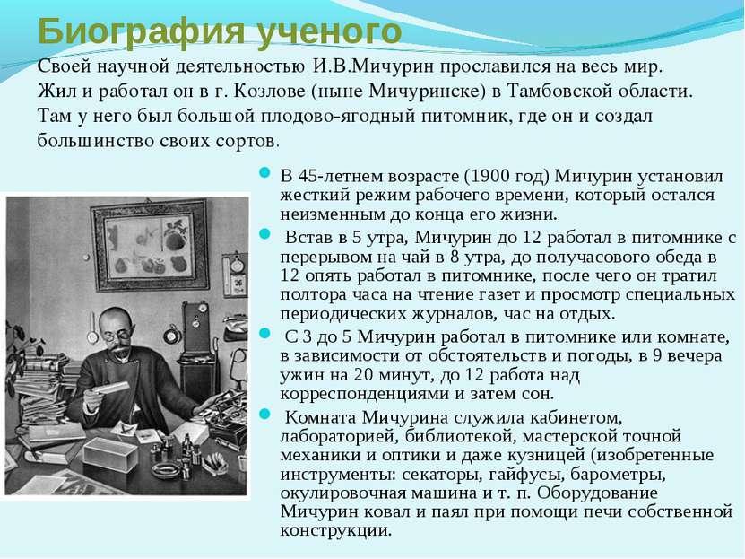 Биография ученого Своей научной деятельностью И.В.Мичурин прославился на весь...