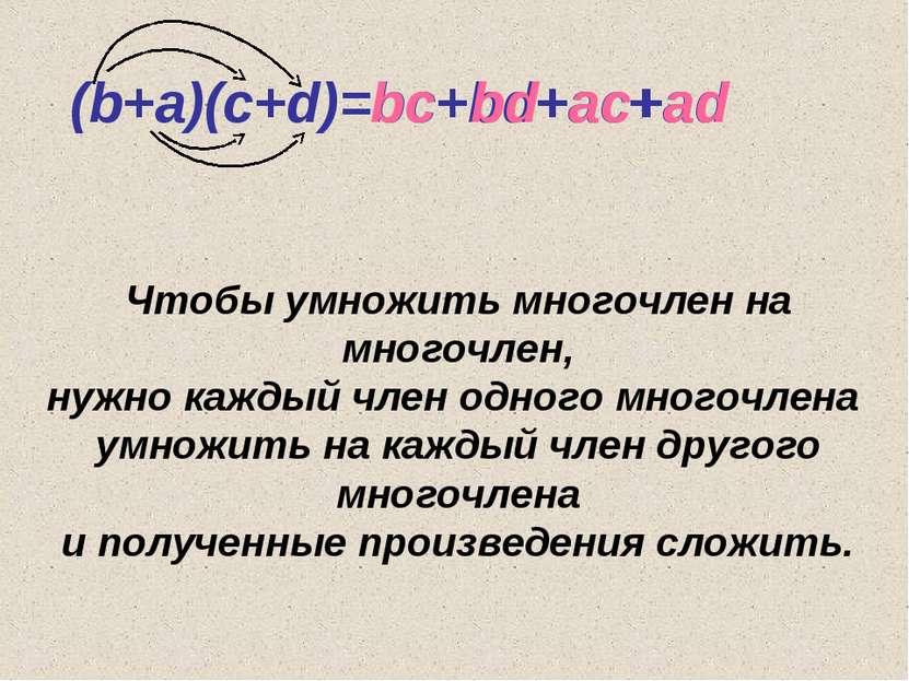 (b+a)(c+d)=bc+bd+ac+ad bc ac bd ad + + + Чтобы умножить многочлен на многочле...