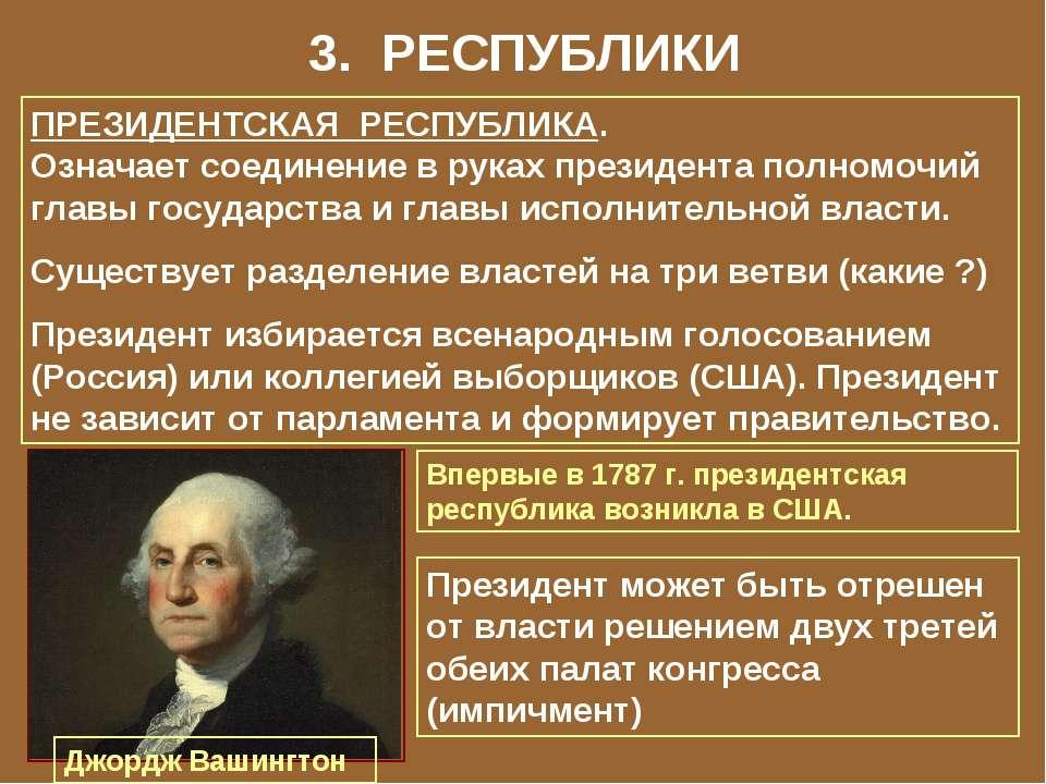 3. РЕСПУБЛИКИ ПРЕЗИДЕНТСКАЯ РЕСПУБЛИКА. Означает соединение в руках президент...