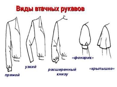 Виды втачных рукавов прямой узкий расширенный книзу «фонарик» «крылышко»