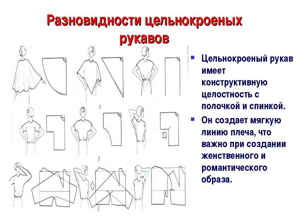 Разновидности цельнокроеных рукавов Цельнокроеный рукав имеет конструктивную ...