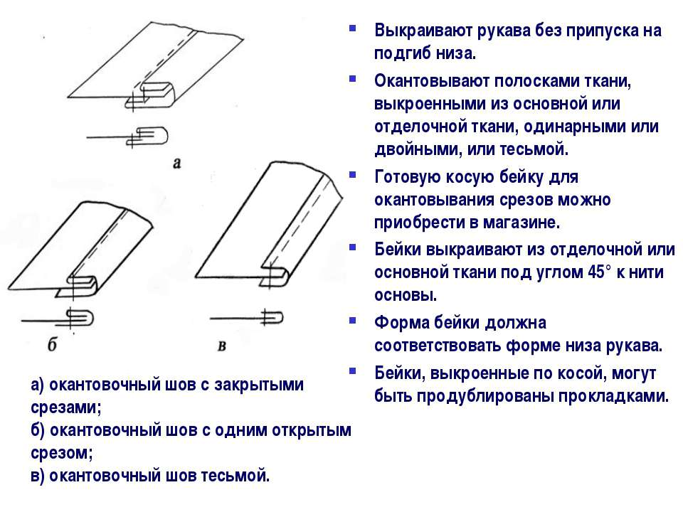 а) окантовочный шов с закрытыми срезами; б) окантовочный шов с одним открытым...