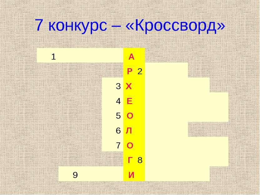7 конкурс – «Кроссворд» 1 А Р 2   3 Х    4 Е     5 О     6 Л...