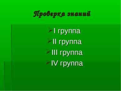 Проверка знаний I группа II группа III группа IV группа