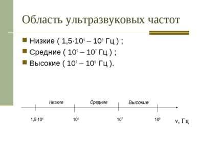 Область ультразвуковых частот Низкие ( 1,5·104 – 105 Гц ) ; Средние ( 105 – 1...