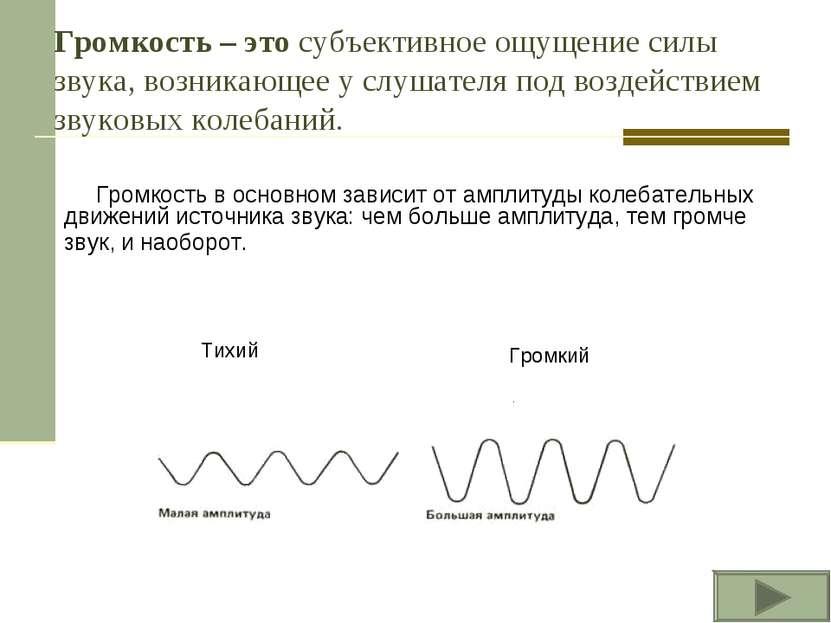 Громкость – это субъективное ощущение силы звука, возникающее у слушателя под...