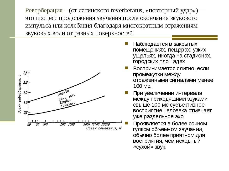 Реверберация – (от латинского reverberatus, «повторный удар») — это процесс п...