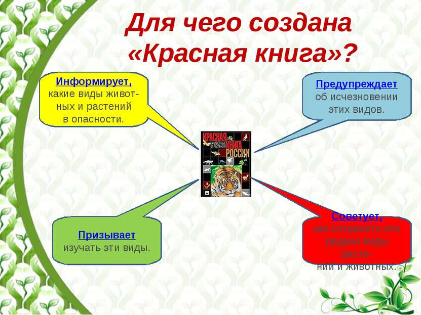 Для чего создана «Красная книга»? Информирует, какие виды живот-ных и растени...