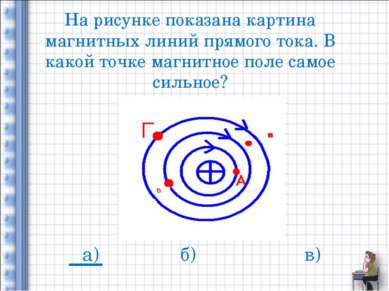 На рисунке показана картина магнитных линий прямого тока. В какой точке магни...