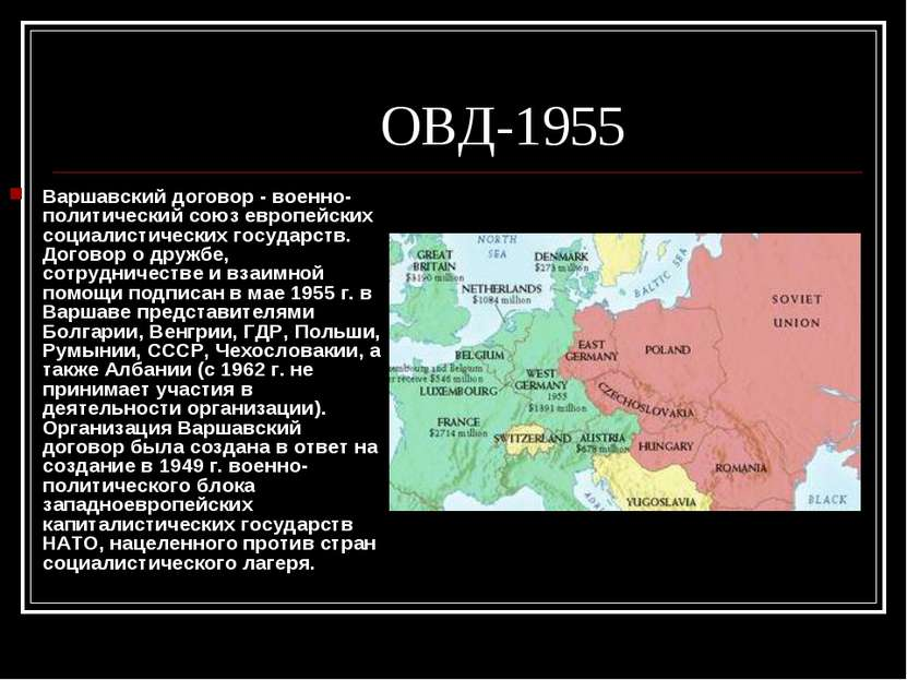 ОВД-1955 Варшавский договор - военно-политический союз европейских социалисти...