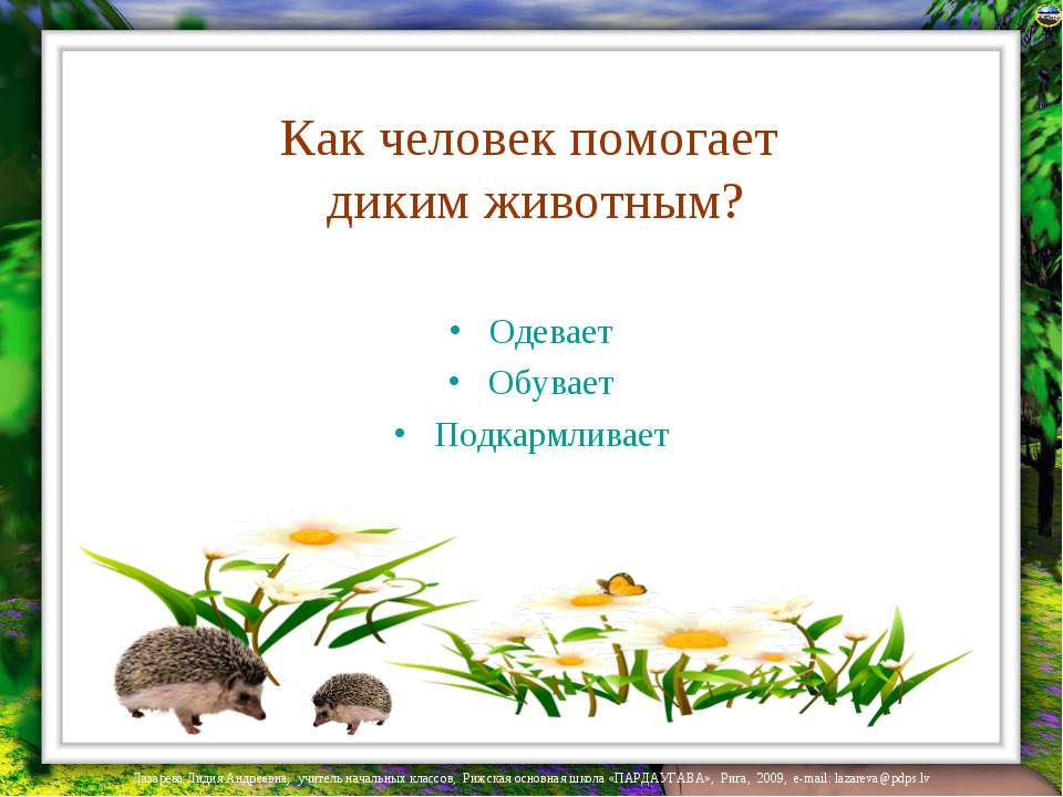 Как человек помогает диким животным? Одевает Обувает Подкармливает Лазарева Л...