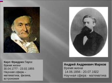 Карл Фридрих Гаусс Время жизни 30.04.1777 - 23.02.1855 Научная сфера – матема...