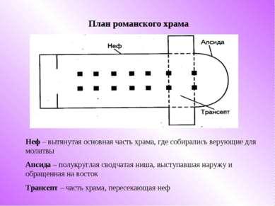 План романского храма Неф – вытянутая основная часть храма, где собирались ве...