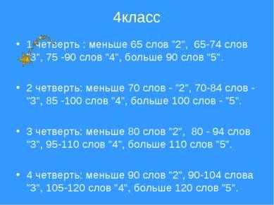 """4класс 1 четверть : меньше 65 слов """"2"""", 65-74 слов """"3"""", 75 -90 слов """"4"""", бол..."""