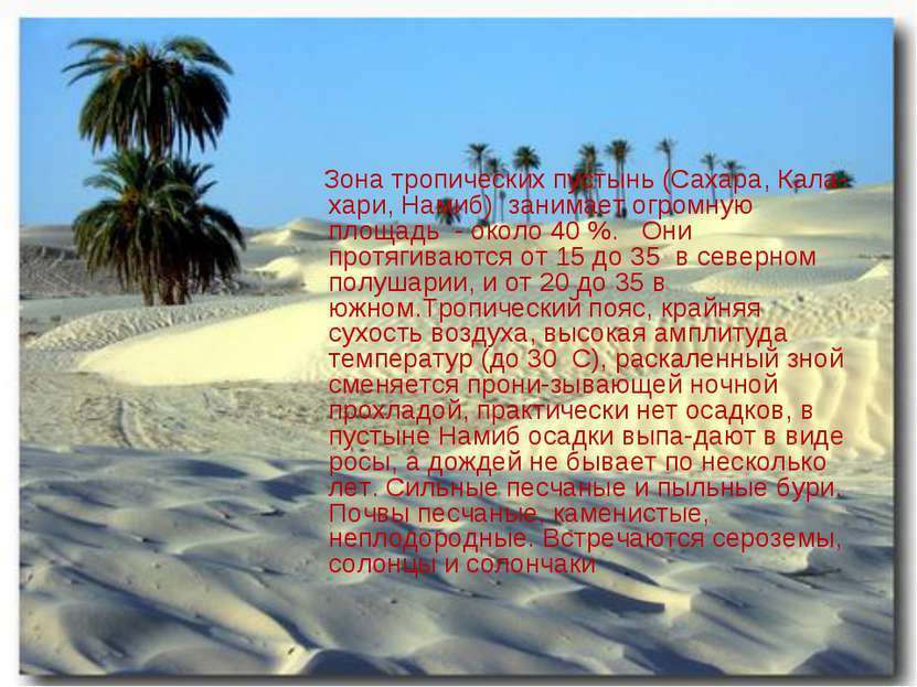 Зона тропических пустынь (Сахара, Кала-хари, Намиб) занимает огромную площадь...