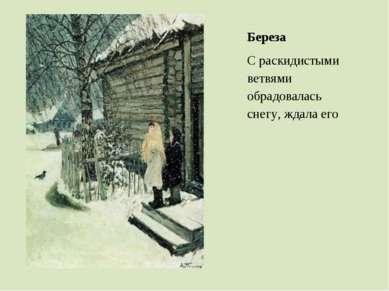 Береза С раскидистыми ветвями обрадовалась снегу, ждала его