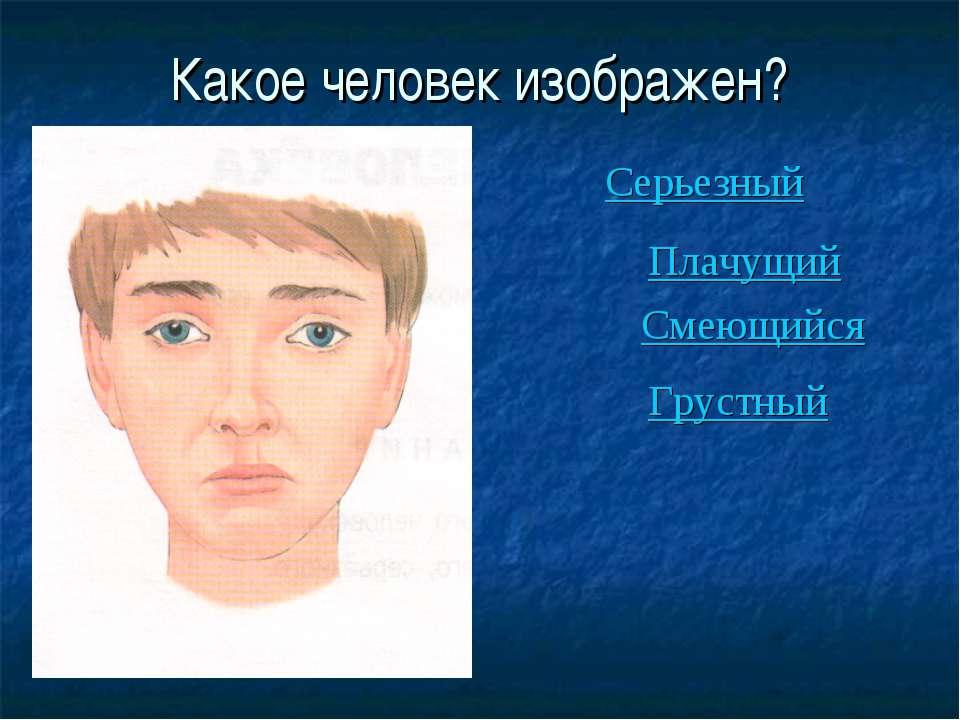 Какое человек изображен? Серьезный Плачущий Смеющийся Грустный
