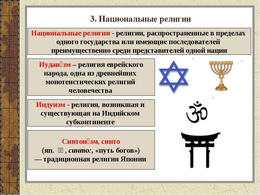 3. Национальные религии Национальные религии - религии, распространенные в пр...