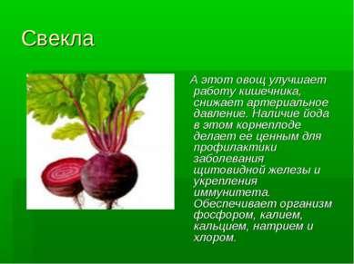 Свекла А этот овощ улучшает работу кишечника, снижает артериальное давление. ...