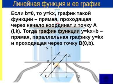 Если b=0, то у=kx, график такой функции – прямая, проходящая через начало коо...