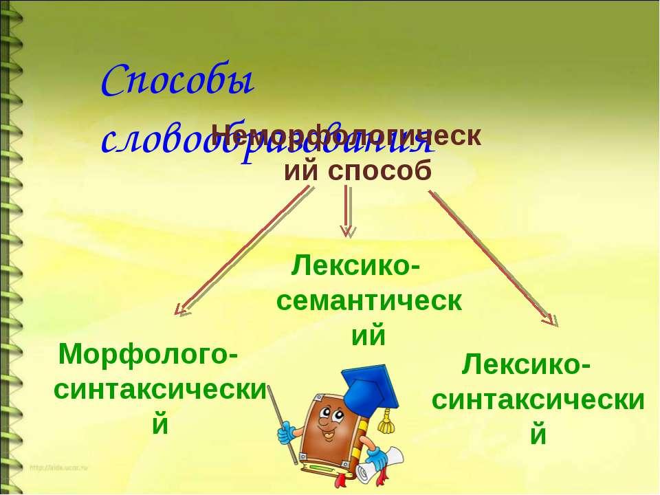 Способы словообразования Неморфологический способ Морфолого-синтаксический Ле...