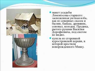 макет усадьбы Ломоносова-старшего: заснеженная уютная изба, как из северных с...