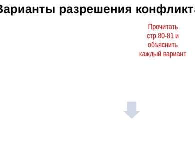 интеграция Варианты разрешения конфликта Прочитать стр.80-81 и объяснить кажд...