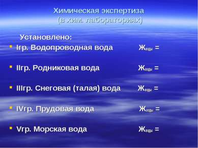 Химическая экспертиза (в хим. лабораториях) Установлено: Iгр. Водопроводная в...