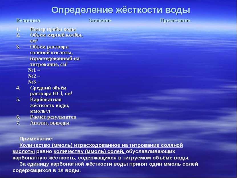 Определение жёсткости воды Примечание: Количество (ммоль) израсходованное на ...