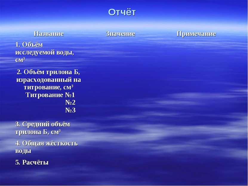 Отчёт Название Значение Примечание 1. Объём исследуемой воды, см3 2. Объём тр...