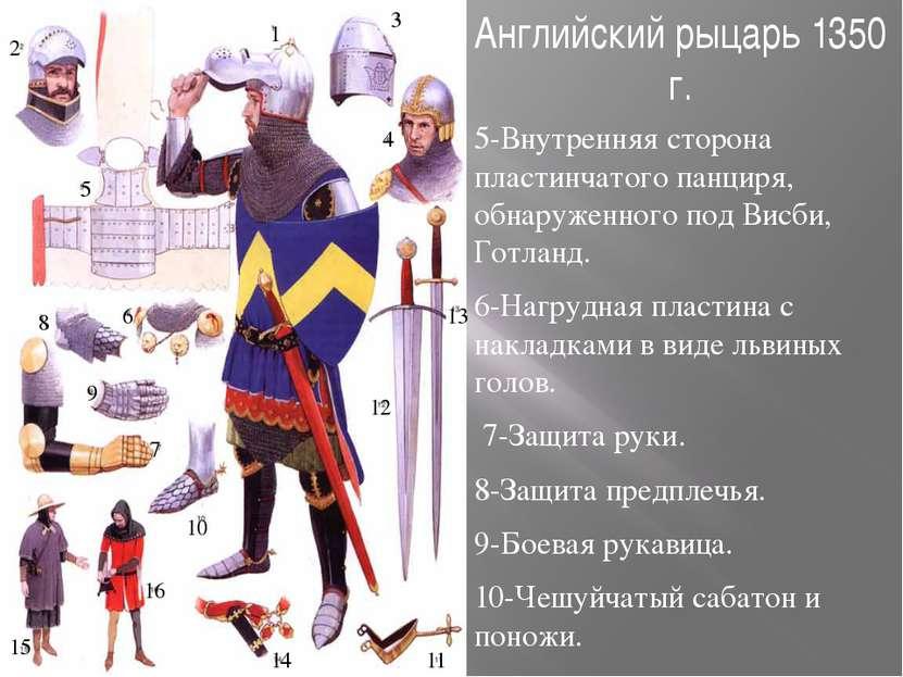 Английский рыцарь 1350 г. 5-Внутренняя сторона пластинчатого панциря, обнаруж...