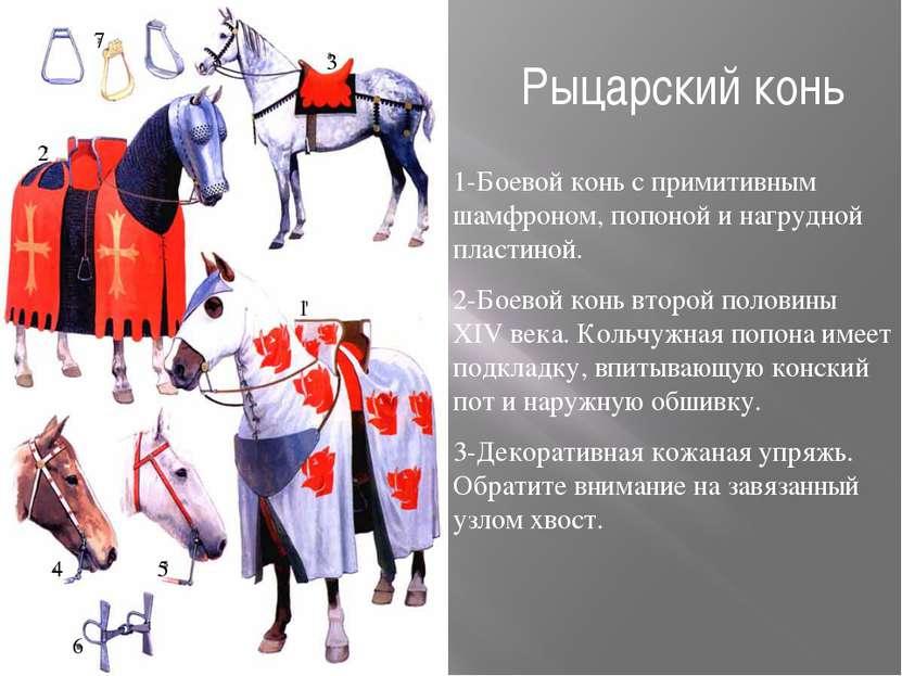 Рыцарский конь 1-Боевой конь с примитивным шамфроном, попоной и нагрудной пла...