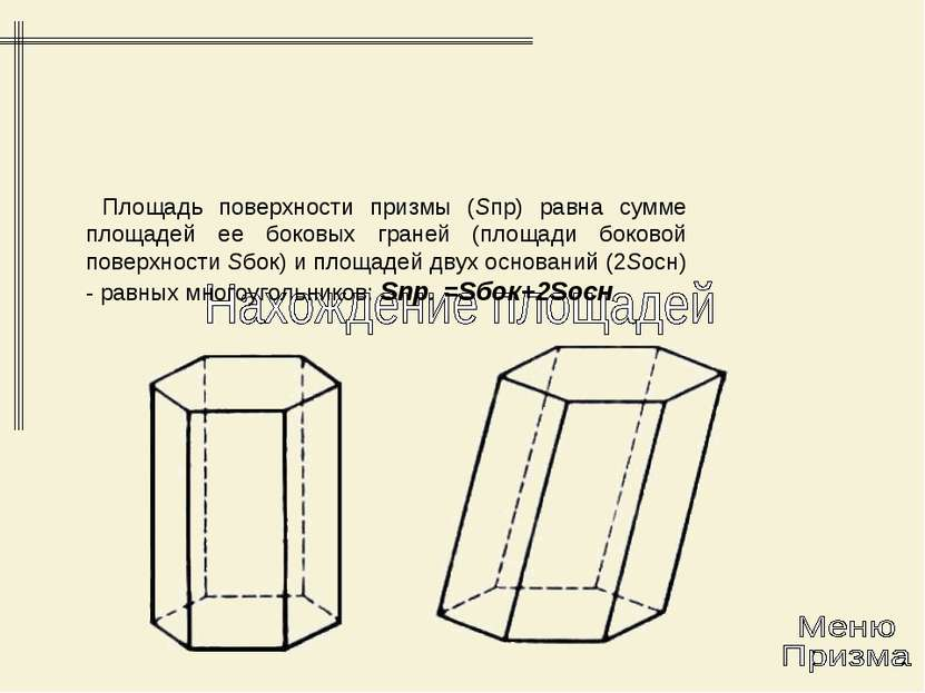 Площадь поверхности призмы (Sпр) равна сумме площадей ее боковых граней (площ...