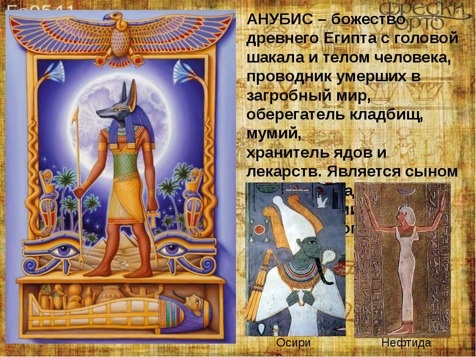 АНУБИС – божество древнего Египта с головой шакала и телом человека, проводни...