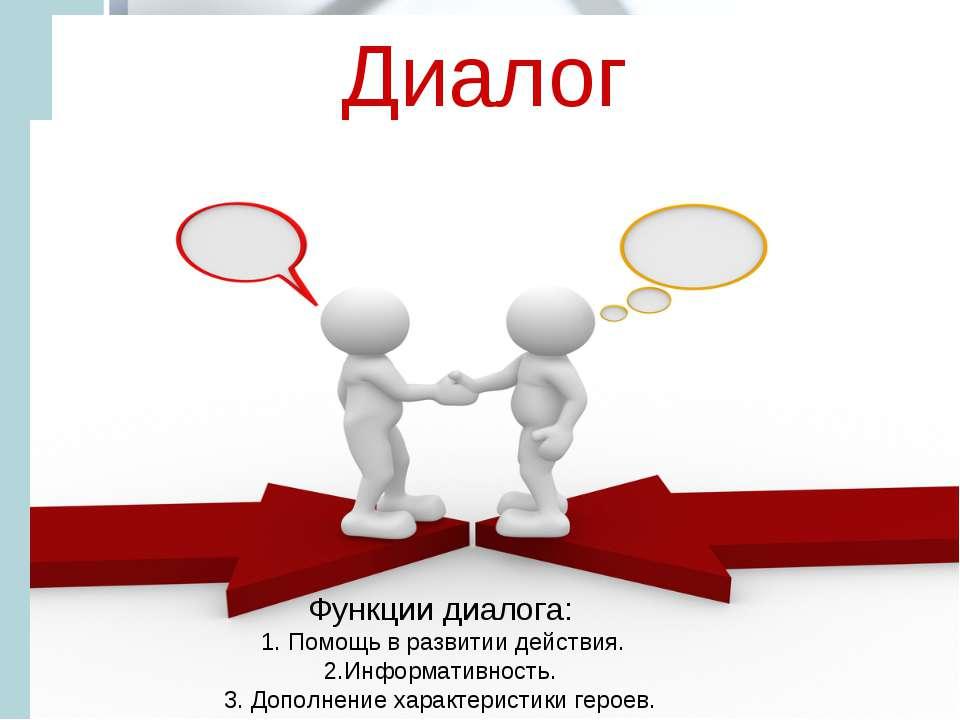 Диалог Функции диалога: 1. Помощь в развитии действия. 2.Информативность. 3. ...