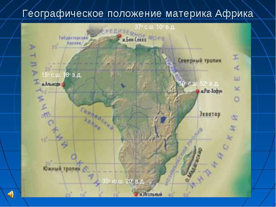 Географическое положение материка Африка 37о с.ш. 10о в.д. 35о ю.ш. 20о в.д. ...