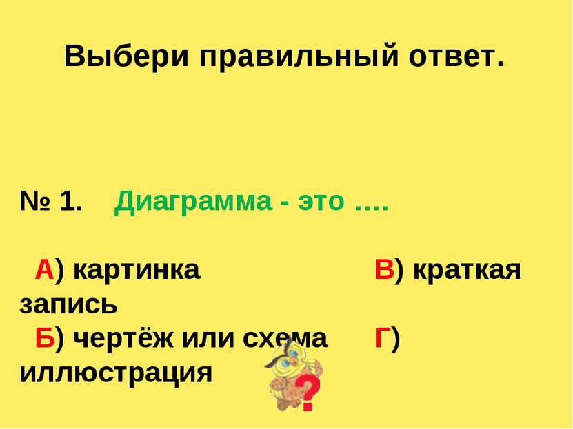 Выбери правильный ответ. № 1. Диаграмма - это …. А) картинка В) краткая запис...
