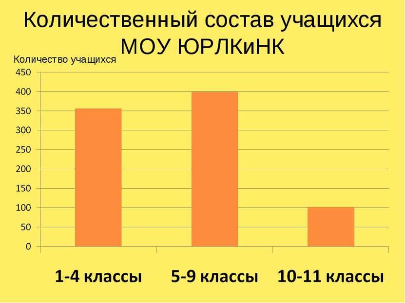 Количественный состав учащихся МОУ ЮРЛКиНК Количество учащихся