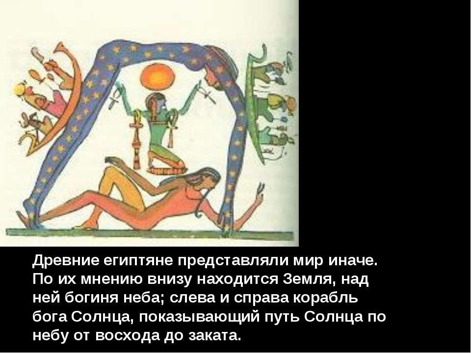 Древние египтяне представляли мир иначе. По их мнению внизу находится Земля, ...