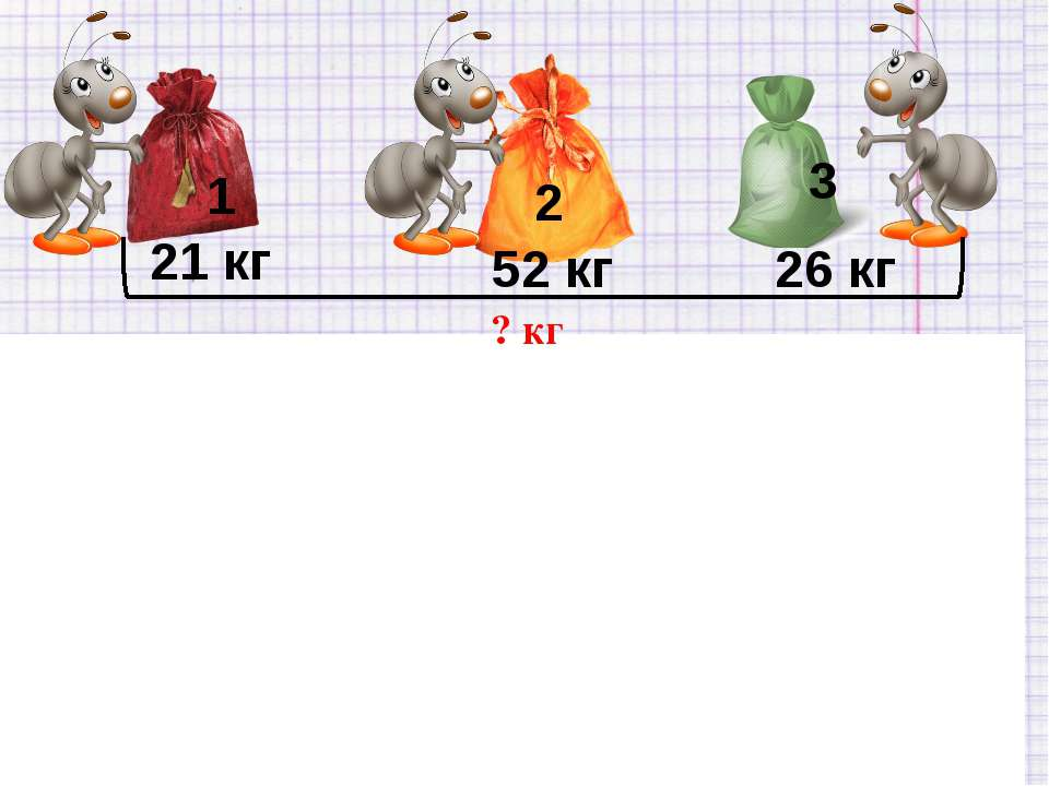 21 кг 52 кг 26 кг I - 21 кг - 52 кг - 26 кг 52 + 26 + 21 = 99 (кг) Ответ: все...