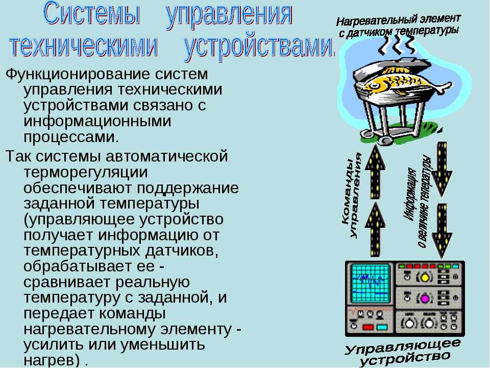 Функционирование систем управления техническими устройствами связано с информ...