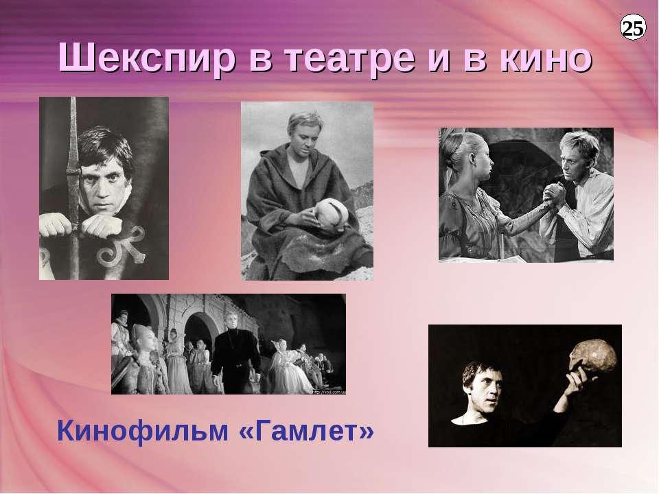 Кинофильм «Гамлет» 25 Шекспир в театре и в кино
