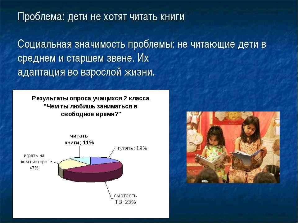Проблема: дети не хотят читать книги Социальная значимость проблемы: не читаю...
