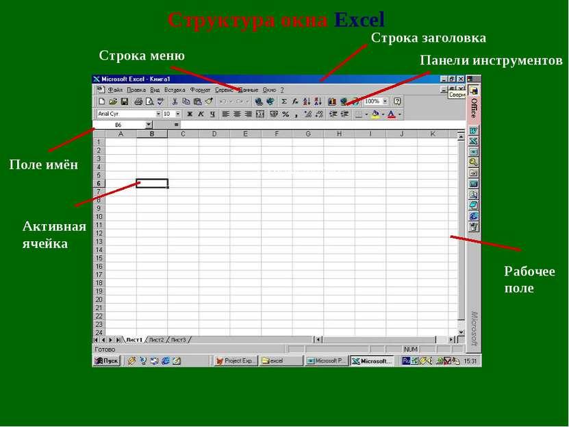 Структура окна Excel Строка меню Рабочее поле Панели инструментов Строка заго...
