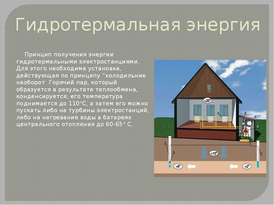 Гидротермальная энергия Принцип получения энергии гидротермальными электроста...